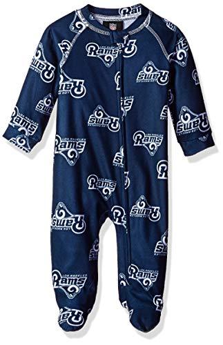 Outerstuff NFL Los Angeles Rams Newborn & Infant Raglan Zip Up Coverall Dark Navy, 0-3 Months