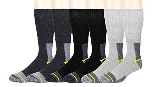 Zeke Men's Work Socks - 6 Pair -Cushioned Sole - Moisture Control Fibers - Reinforced Heel and Toe - Soft and (Reinforced Heel)