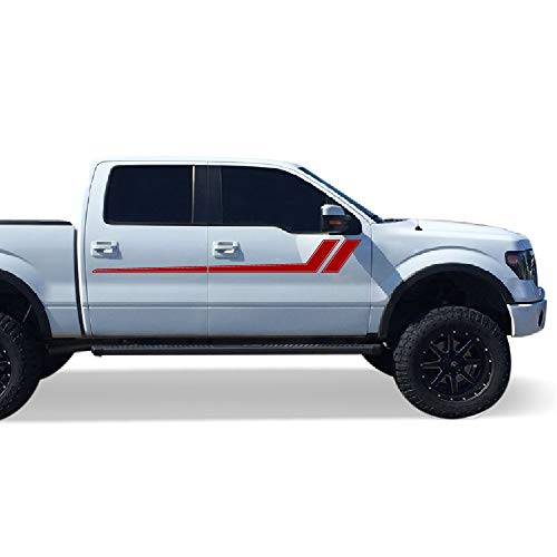Bubbles Designs Decal Graphic Vinyl Upper Door Racing Stripe Kit Compatible Ford F150 Series 2009-2017 (RED)