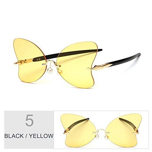 La Gafas De Gafas Mujer De Black Sol De Señor Mariposa Decoración Negro Yellow Rojo Sol Bastidor Perla De Femenino Vintage TIANLIANG04 Sin La Gafas pwx00