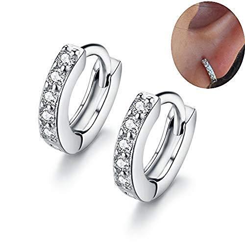 - MSECVOI Sterling Silver Cubic Zirconia Cuff Earrings Small Hoop Huggie Earrings Stud 12mm for Women