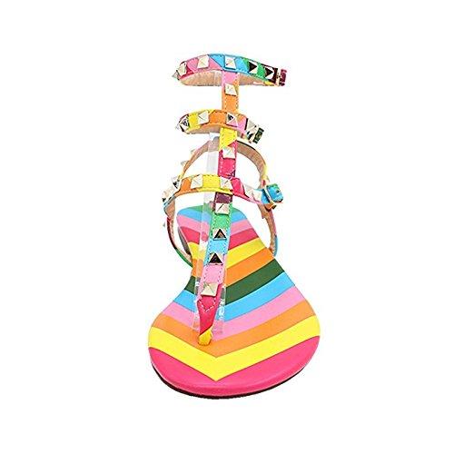 45EU 35 Infradito Block Borchie Toe Arcobaleno per Caitlin Heels Slide Chunky Open Slipper con Dress Donna Mid con Pan Sandali Heel Borchie Sandals qzBRqH