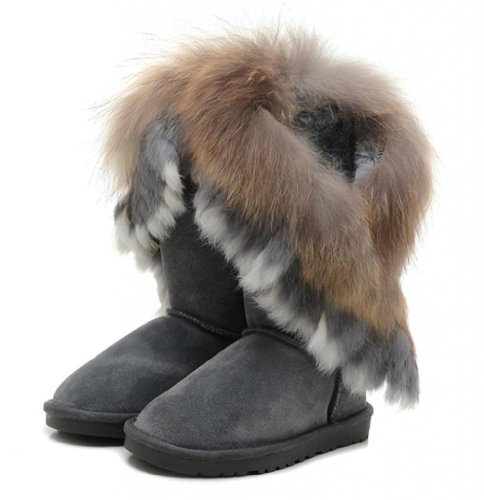 Indian Boots Women's Leather Fur Snow Fox Gray Style Winter Real IVG Boots CEt4qC