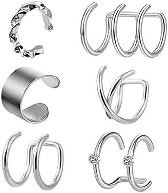 Briana Williams 6stk Silber Ohrklemme Fake Non Piercing Ohrring Clips Edelstahl Ear Cuff Piercing Schmuck Damen Frau