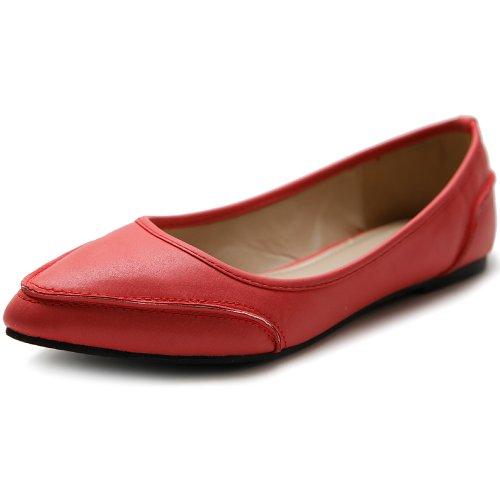 Pastel Shoes Ballet (Ollio Women's Shoe Ballet Pointed Toe Pastel Low Flat M1829 (6 B(M) US, Scarlet))