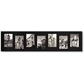adeco 8 opening decorative black wood offset collage wall hanging photo frame 4 by 6