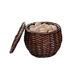 Natural Fruits/Eggs/Vegetables Storage Basket with Lid Home Organizer