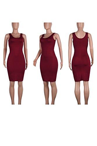 Carrs Wined Bodycon Des Slim Midi De Femmes Sans Robe Les Manches Solides aOx4IwnqP6