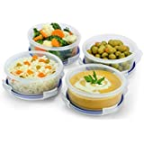 Popit! Round Food Container Meal Prep Set 4 x 1.65 Cup Containers, BPA Free, 100% Leak Proof, Microwave, Freezer, Dishwasher Safe, by Popit!