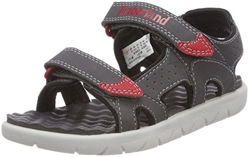 - Timberland Perkins Row Boys Youth Rip Tape Sandals 13/32 Forged Iron/Red