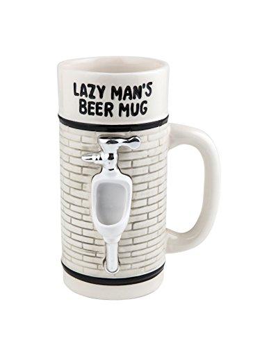 BigMouth Inc Lazy Man's Beer Mug, White Ceramic Beer Mug, Novelty Joke Beer -