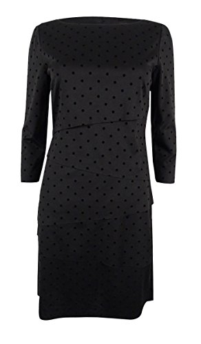 Tahari by ASL Women's Tiered Flocked Velvet Dot Sheath Dress Black Dress ()