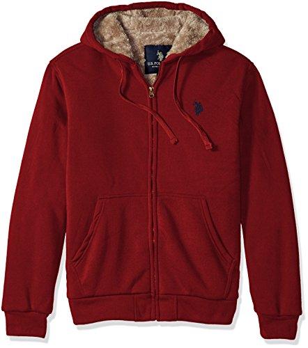 U.S. Polo Assn. Men's Sherpa Lined Fleece Hoodie, University Red, (Polo Red Sweatshirt)