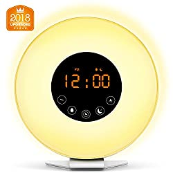 Wake Up Light Digital Alarm Clock with Sunrise Simulation - 6 Nature Sounds , FM Radio, Sunset Fading Night Light for Bedside and Kids, Sunrise Digital Alarm Clock for Heavy Sleepers