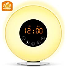 Wake Up Light Digital Alarm Clock with Sunrise Simulation - 6 Nature Sounds , FM Radio, 7 Colors Switch, Sunset Fading Night Light for Bedside and Kids, Digital Clock for Heavy Sleepers