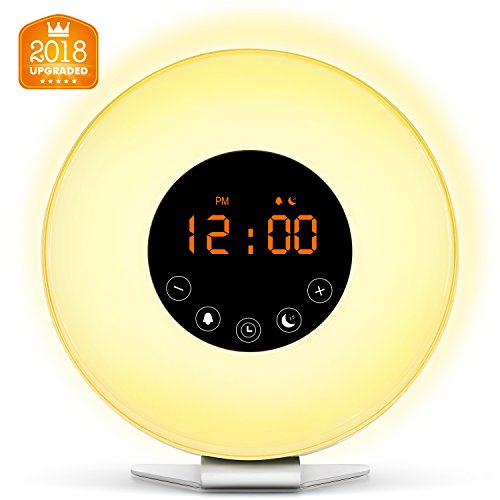 [2018 Upgraded] Wake Up Light Digital Alarm Clock with Sunrise Simulation - 6 Nature Sounds , FM Radio, 7 Colors Switch, Sunset Fading Night Light for Bedside and Kids, Digital Clock for Heavy Sleepers
