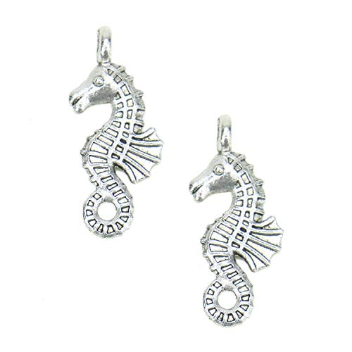 Monrocco 100 Pack Antique Silver Alloy Hippocampus Seahorse Charms Pendant Bulk for Bracelets Jewelry Making]()