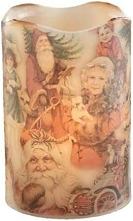 Olde Christmas Vintage Look Santa Scene Flameless Candle Battery Operated with Timer and Flickering Flame