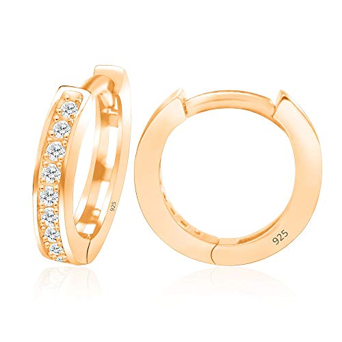 Diamond Small Huggies Earrings - 14k Rose Gold Plated Sterling Silver Cubic Zirconia Small Hoop Huggie Cartilage Earrings Cuff - Small