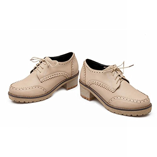 Latasa Womens Fashion Lace-up Mid Chunky Heels Oxfords Shoes Beige 2BtOPcR