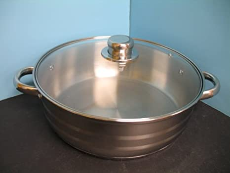 Stainless steel 18/10 Mega Cook Germany Low pot fry pan cookware kitchen.