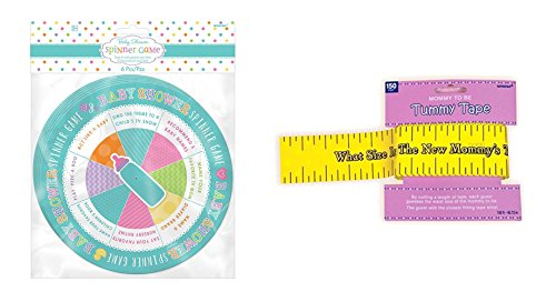 Amscan Spinner Baby Shower Game and Baby Shower Tummy Tape Bundled by Maven Gifts ()