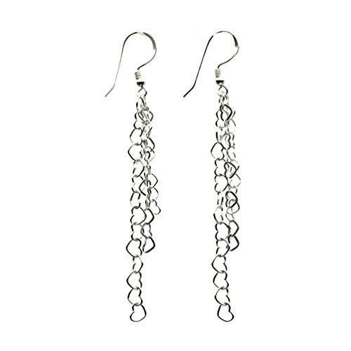 - Sterling Silver Multi-strand Heart Chain Dangle Tassel Earrings Italy