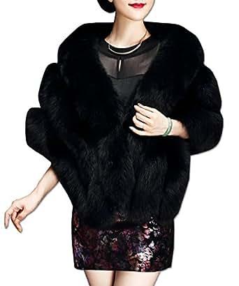 KAXIDY Ladies Faux Fur Shawls Wraps Girls Ponchos Capes Women Coat Elegant Shawl (Black)