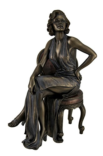 Resin Statues Retro Pin Up Girl In Daring Dress Posing On Chair Statue 9 Inch 6 X 9.25 X 4 Inches Bronze Model # WU71842A4 (Bronze Statue Girl)