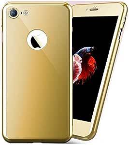 جراب 360 درجة ايفون 8 عاكس مع حماية شاشة زجاجية ضد الكسر - ذهبي