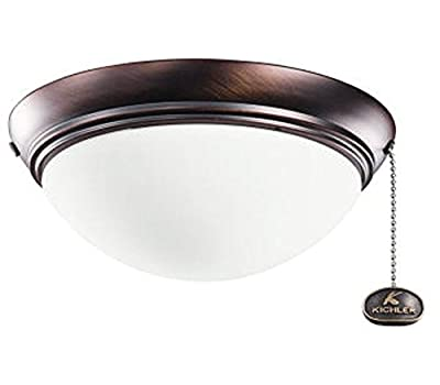 Kichler Lighting 380120OBB Low Profile 2-Light Wet Location Ceiling Fan Light Fixture, Oil Brushed Bronze Finish with Etched Opal Glass, Small