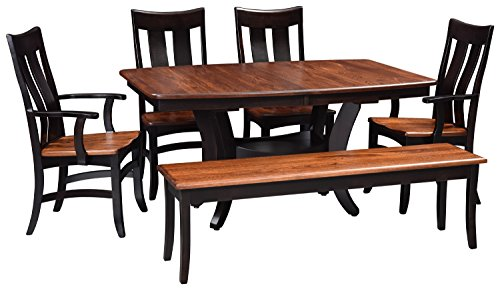 Solid Wood Dining Room Kitchen Table Set, Amish Made Heirloom Quaity for Today and Generations To Come, 2 Leaves-4 Chairs-1 Bench Crafted From Elm and Maple Hardwoods, White Glove -