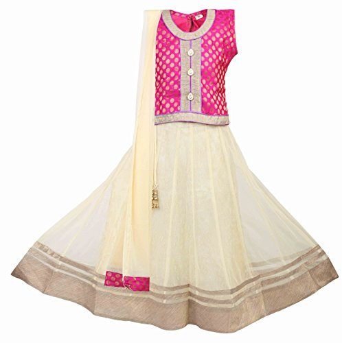 - Ashwini Girls Netted Embroidery Pink Lehenga Choli Set,Pink 9-10 years