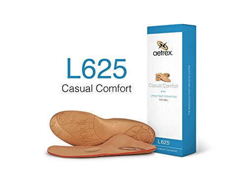 Aetrex Men's Lynco L625M Casual Comfort Orthotic Insole Inserts - Flat/Low Arch & Metatarsal Support, Size 10 ()