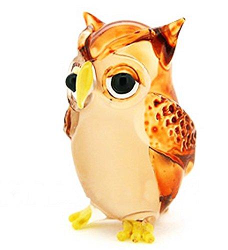 Lampwork COLLECTIBLE MINIATURE HAND BLOWN Art GLASS Single Owl Brown FIGURINE ( by Ayutthaya shop )