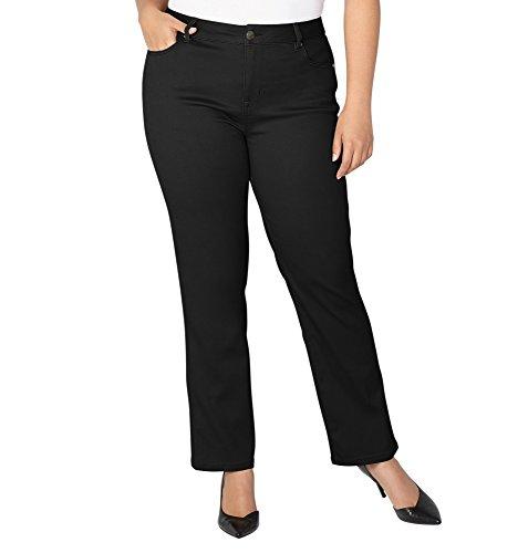 -AVENUE Women's Butter Denim Straight Leg Jean in Black, 16 Black Rinse