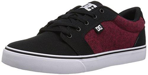 DC Men's Anvil TX SE Skate Shoe, Black/Athletic red, 6 Medium US