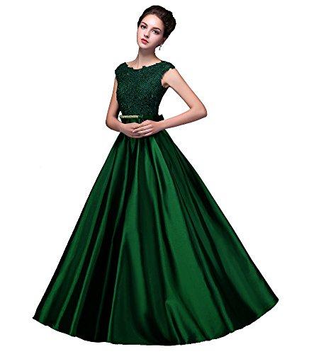 Abendkleider Emily Lang mit Dunkelgrün Spitze ärmellos Damen Rückenfrei Beauty v5Bqw
