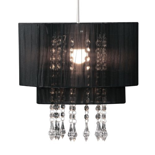 Classic Look Black voile beaded pendant shade by PRIME ()
