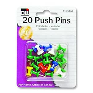 Charles Leonard Inc., Pins - Push  - Assorted Colors - 20/Card, 20200
