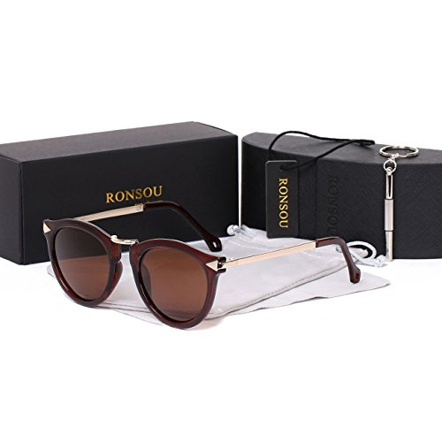 Ronsou Womens Fashion Designer Polarized Sunglasses 100% UV400 Protection Sun Glasses brown frame/coffee - Glasses Criss Darren