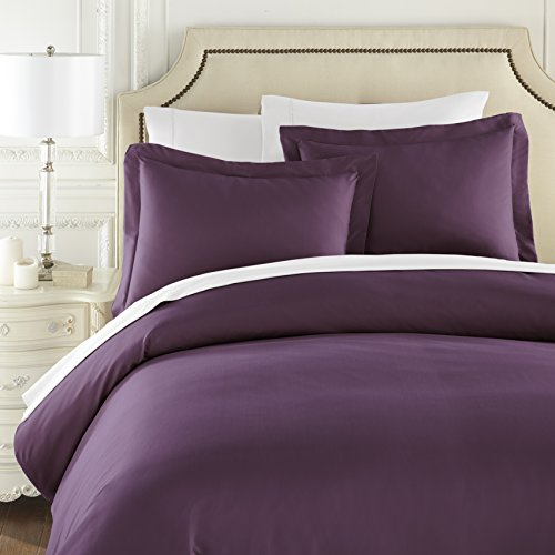 HC COLLECTION Hotel Luxury 3pc Duvet Cover Set-1500 Thread Count Egyptian Quality Ultra Silky Soft Premium Bedding Collection-King Size Eggplant by HC COLLECTION (Image #2)