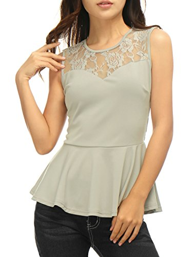 Allegra K Women Round Neck Lace-Paneled Sleeveless Peplum Top S Grey