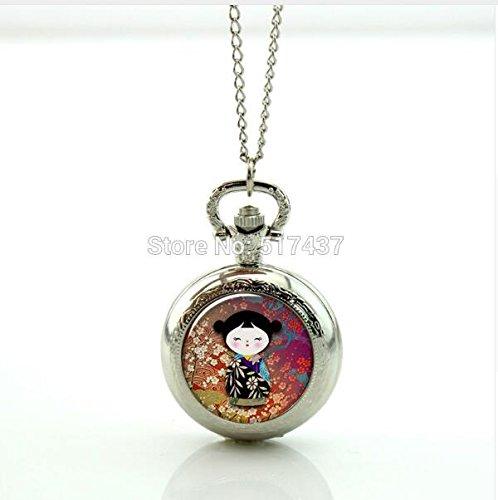 Kokeshi Doll Pocket Watch Mini Glass Locket Necklace Style Retro Vintage Pocket Watch Necklace (1) - Kokeshi Style Doll