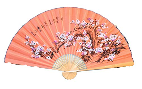 Large 60 X 35 Orange Sherbet Color Fan with White & Fuchsia Cherry Blossom Flowers on a Branch Hand Painted Oriental Hanging Wall Fan