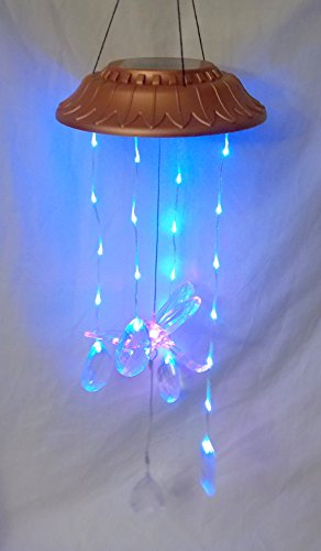 New Color Changing Dragonfly with Hanging Jewel Teardrop Prisms Hanging Solar Mobile Light Lights -