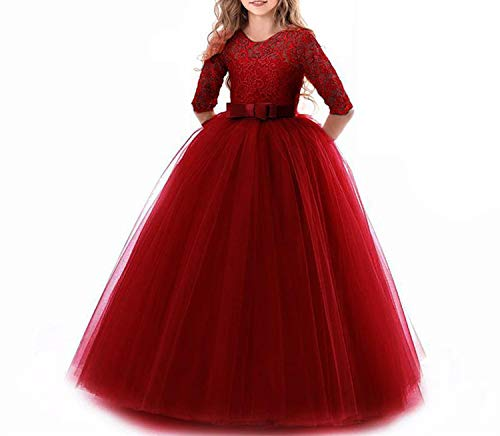 Dresses for Girls Children Formal Girl Party Evening Dress Wedding Princess Dress,Dark red,11 ()