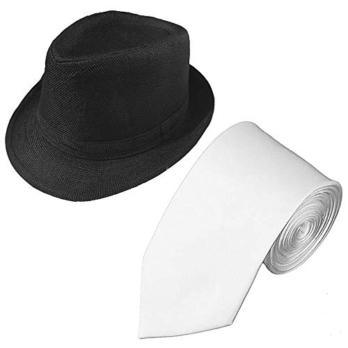 1920s Set Fedora Gangster Hat Costume Accessory and Tie,Men's Roaring 1920s Set Manhattan Fedora Hat for Men (Black hat+White tie) -