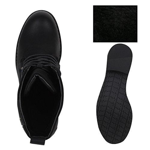 Stiefelparadies Damen Schnürstiefeletten Zipper Nieten Schuhe Strass Schnürschuhe Boots Coole Leder-Optik Schnürer Flandell Schwarz Black