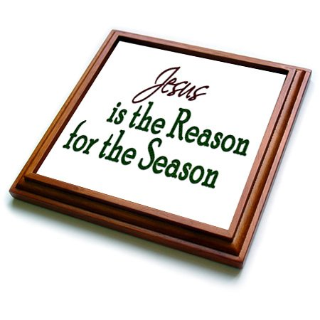 """3dRose trv_217128_1 Christmas Saying Jesus is The Reason for The Season Trivet with Ceramic Tile, 8"""" by 8"""", Brown"""